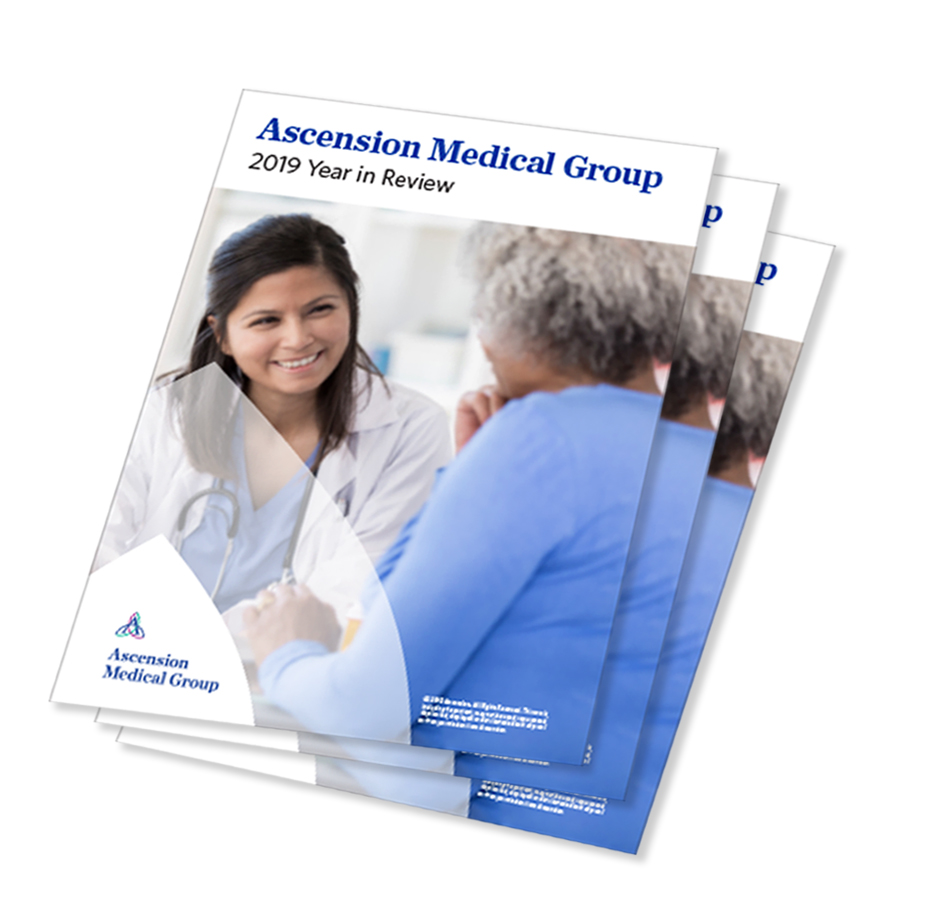 Copies of Ascension Medical Group Year in Review booklets