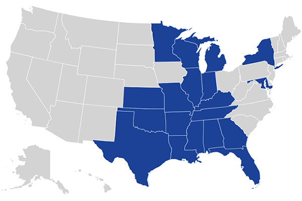 Map of the United States with states highlighted for Ascension Health locations